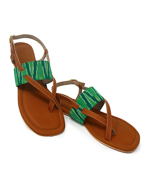 Tan-Green Hancrafted Ikat Cotton Flats