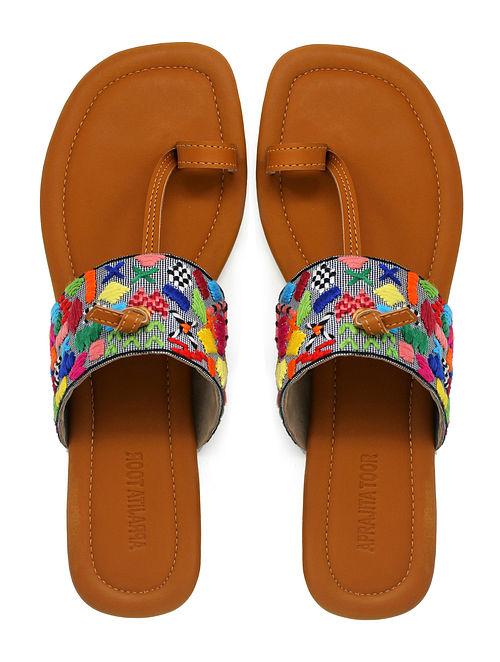 Tan-Multicolored Thread Embroidered Cotton Flats