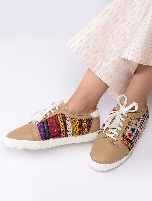 Beige Hand-Crafted Kutch Embroidered Sneakerss