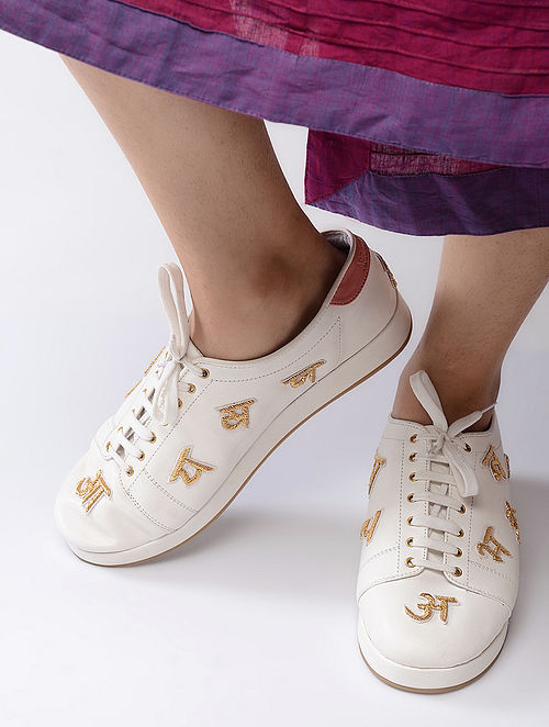 White-Golden Hand-Crafted Zari Embellished Sneakers