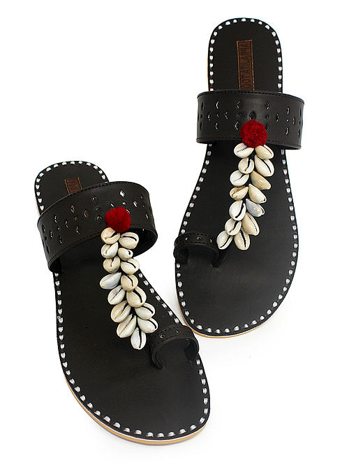 Brown Hand-Crafted Flats with Shell Embelishments and Pom-pom-4