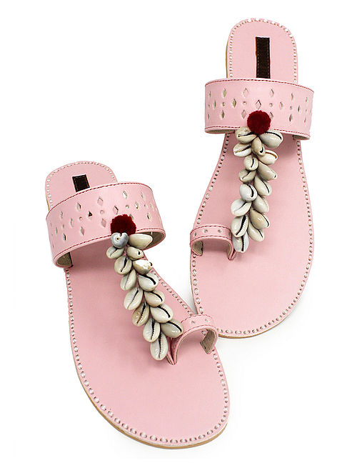 Pink Hand-Crafted Flats with Shell Embelishments and Pom-pom