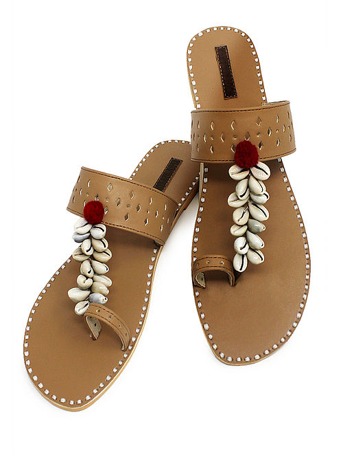 Beige Hand-Crafted Flats with Shell Embelishments and Pom-pom-8