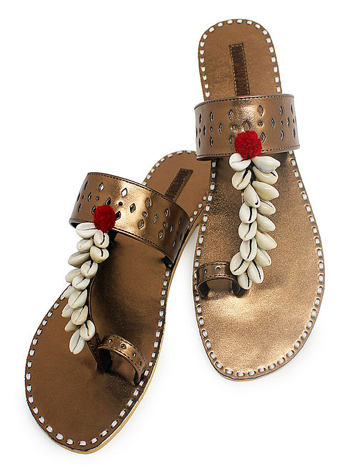 Copper Hand-Crafted Flats with Shell Embelishments and Pom-pom-4