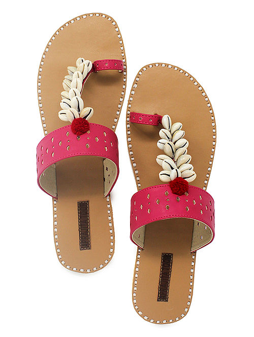 Pink-Beige Hand-Crafted Flats with Shell Embelishments and Pom-pom-8