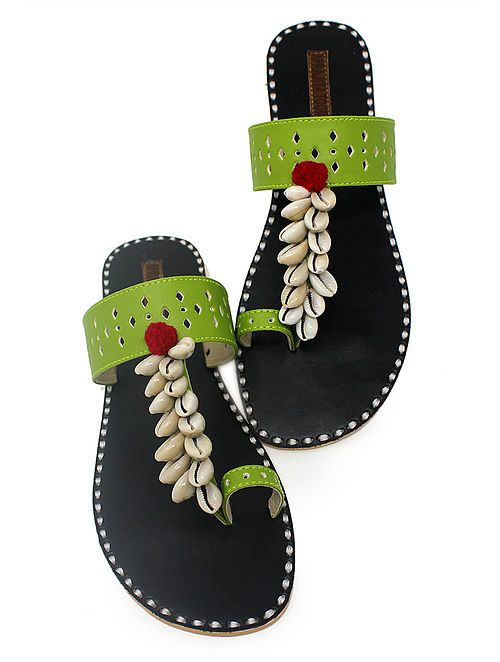 Green-Black Hand-Crafted Flats with Shell Embelishments and Pom-pom-7