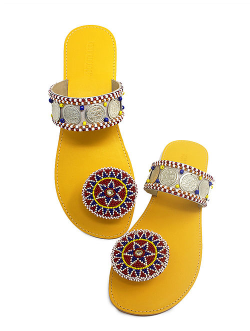 Yellow-Multicolored Handcrafted Beads Embellished Flats