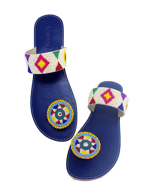 Blue-White Handcrafted Beads Embellished Flats