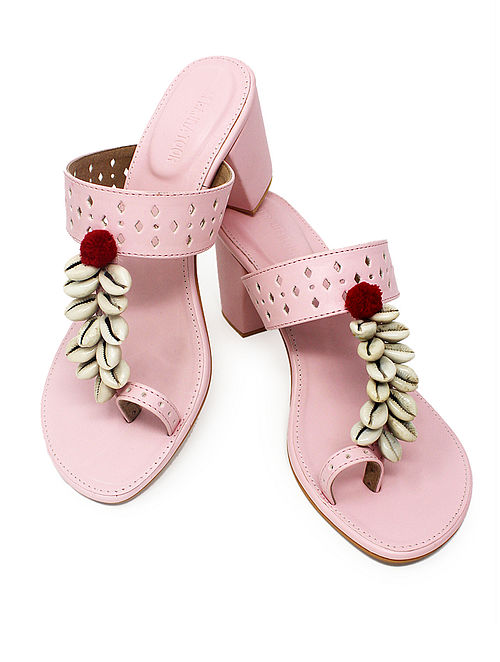 Pink Handcrafted Block Heels with Shell Embellishments and Pom-poms