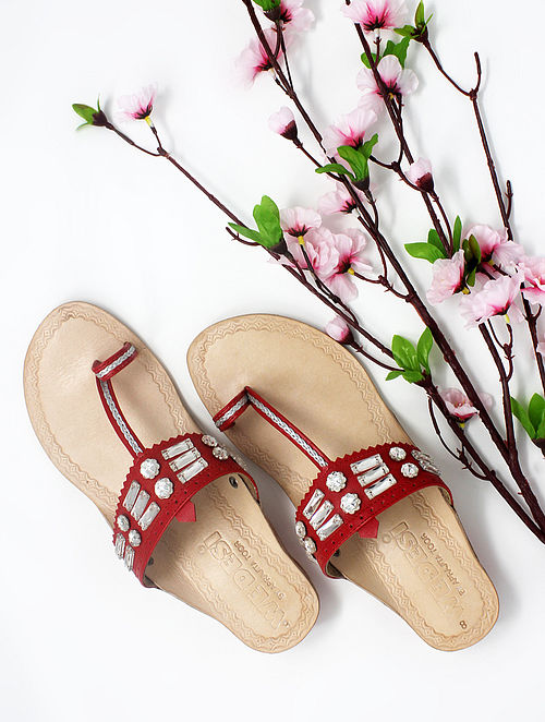 Red Handcrafted Kolhapuri Box Heels with Embellishments