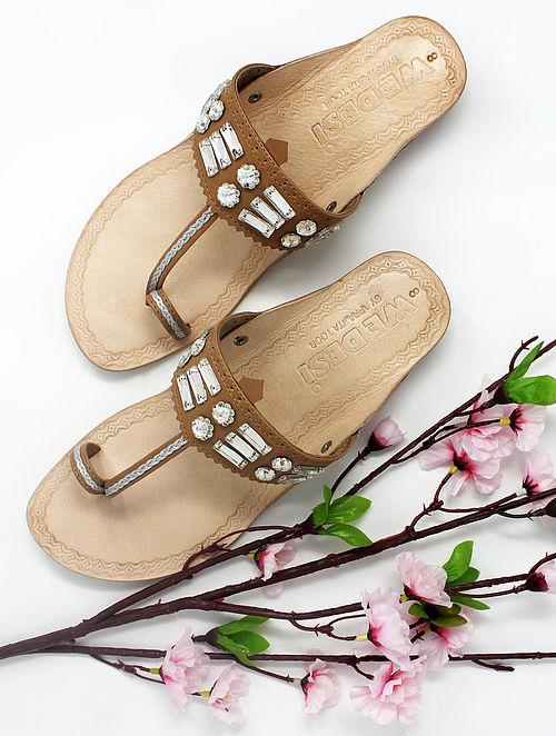 Beige Handcrafted Kolhapuri Box Heels with Embellishments