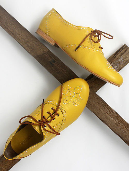 Yellow Handcrafted Leather Shoes