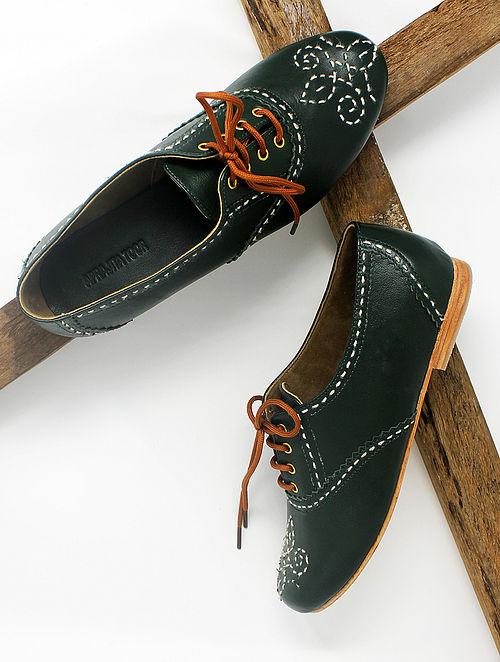 Green Handcrafted Leather Shoes