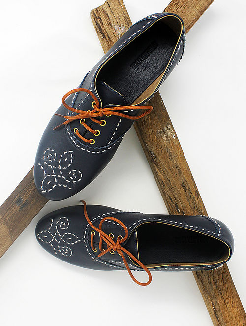 Blue Handcrafted Leather Shoes