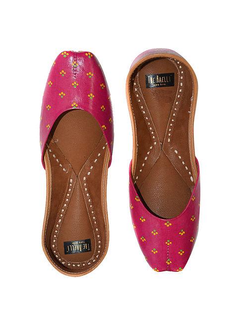 Pink Handpainted Leather Juttis