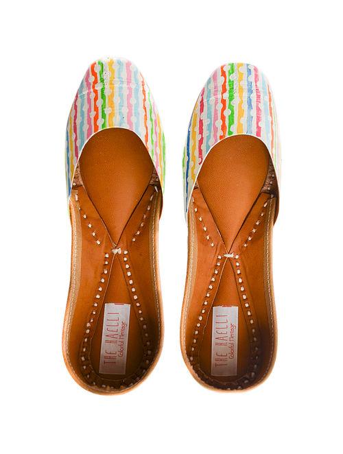 Multicolored Handpainted Leather Juttis