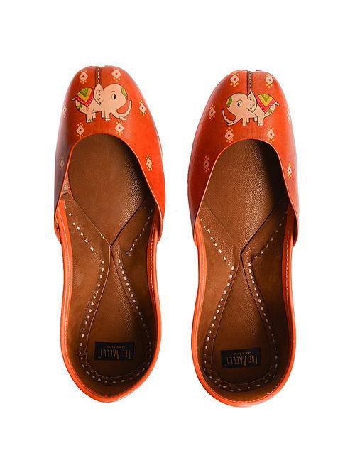 Orange Handpainted Leather Juttis