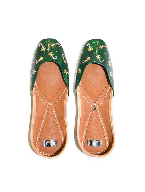 Green Handpainted Leather Juttis
