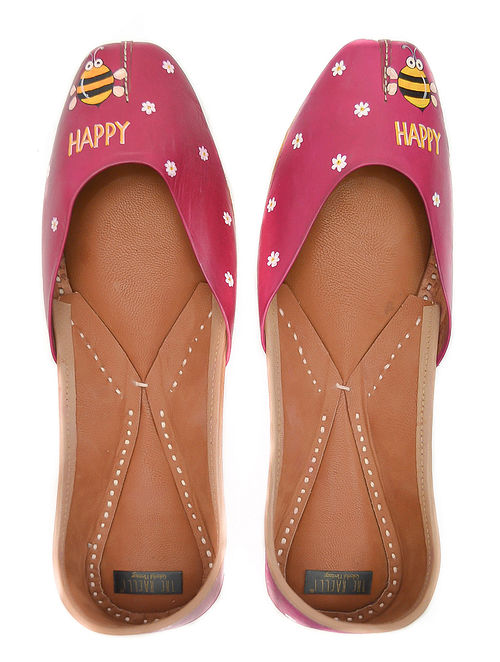 Fuchsia Handpainted Leather Juttis