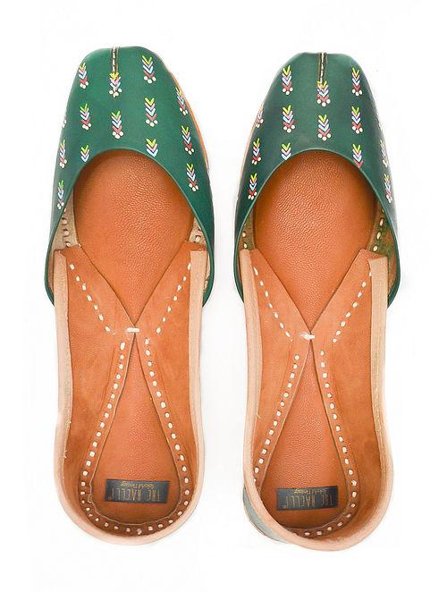 Green Handpainted Leather Juttis
