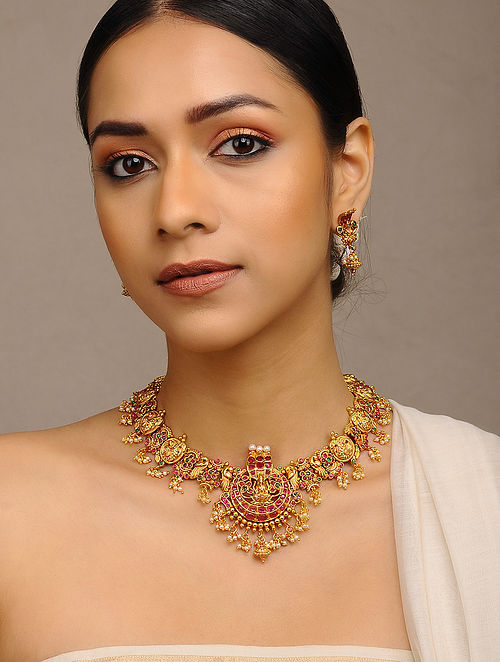 Pink Green Gold Tone Temple Necklace with Earrings (Set of 2)