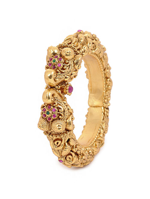 Pink Green Gold Tone Temple Bangle