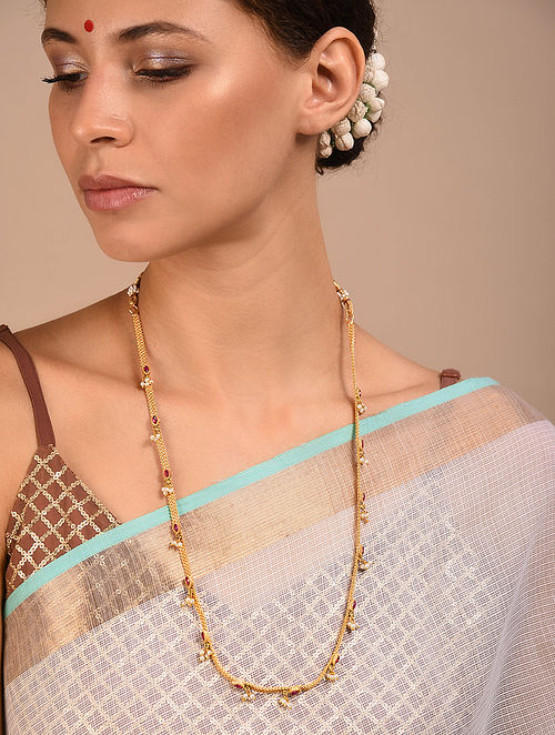Pink Gold Tone Handcrafted Necklace with Pearls