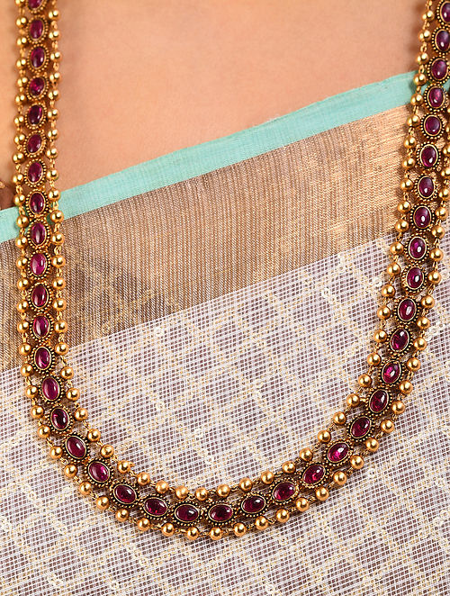 Pink Gold Tone Handcrafted Necklace