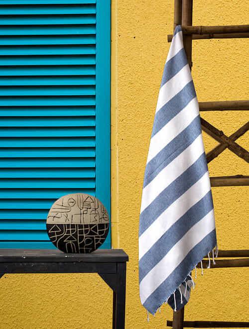 Blue Cotton Bath Towel (64in x 31in)
