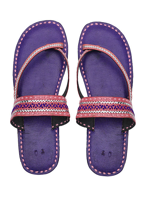 Blue-Orange Handcrafted Leather Flats with Tilla Embroidery