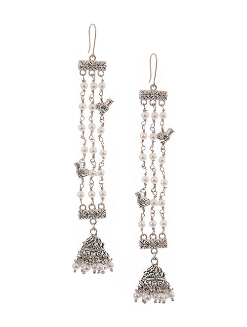 White Silver Tone Earrings with Pearls