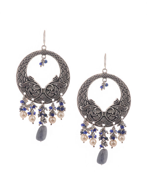 Blue Silver Tone Earrings