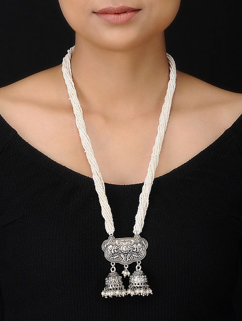 White Silver Tone Handcrafted Necklace