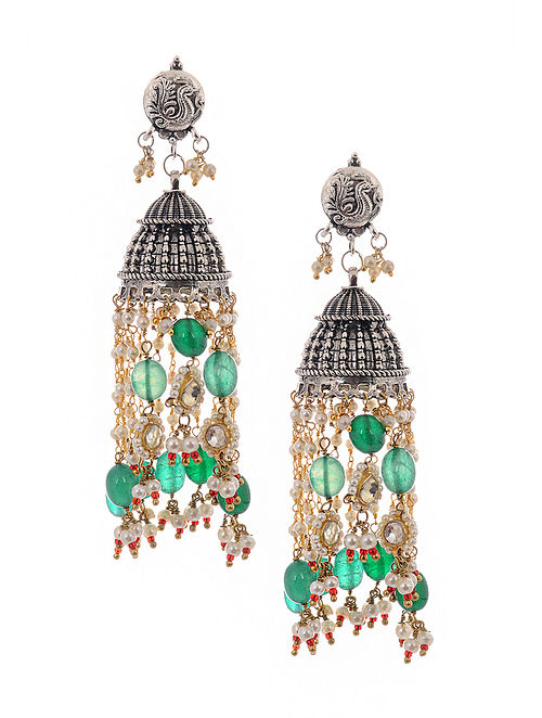 Multicolored Silver Tone Jhumkis with Pearls