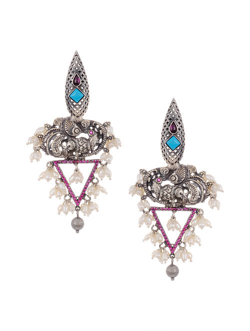 Pink Turquoise Tribal Silver Earrings with Pearls