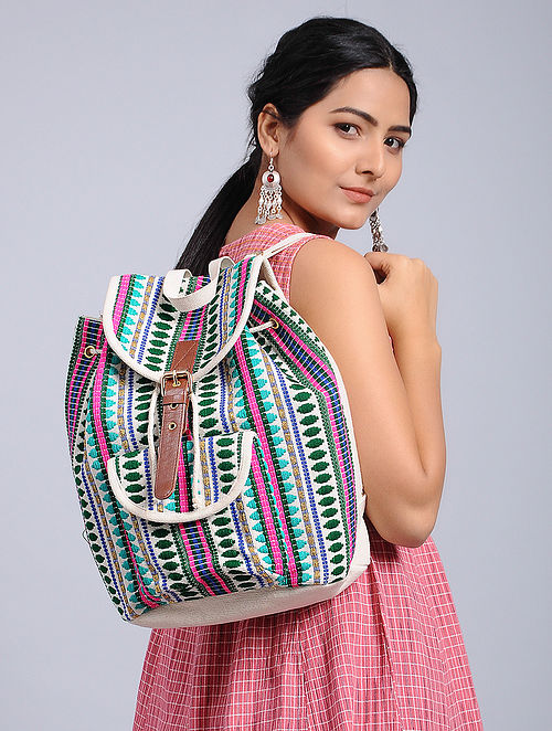 Multicolored Woven Jacquard Backpack