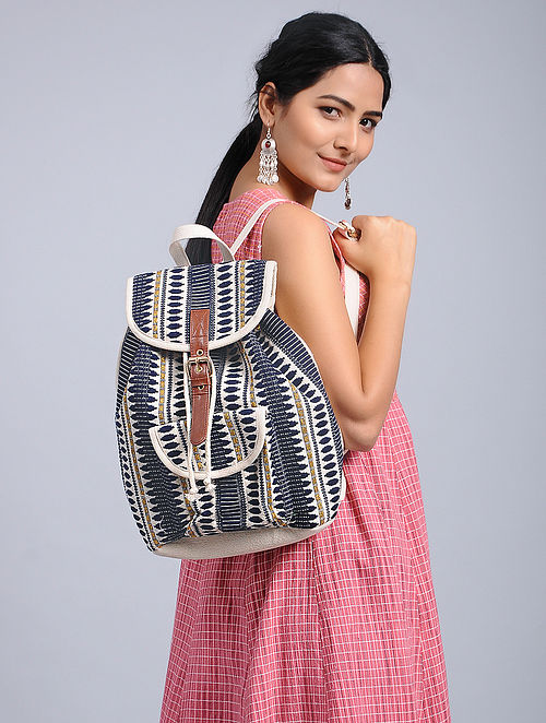 Blue-White Woven Jacquard Backpack