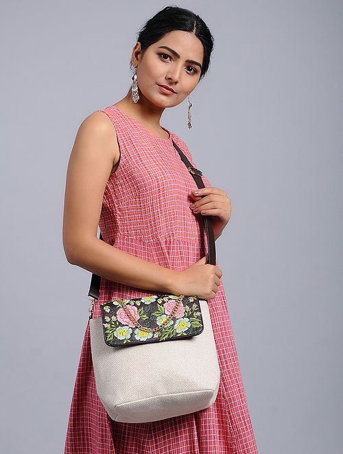 White-Multicolored Embroidered Crossbody Bag