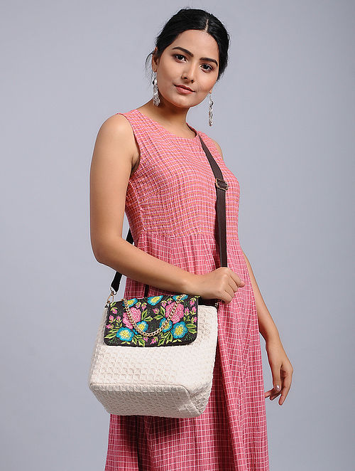 White-Multicolored Embroidered Crossbody Bag