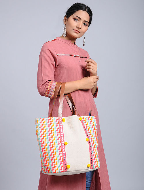 White-Multicolored Woven Jacquard Tote Bag