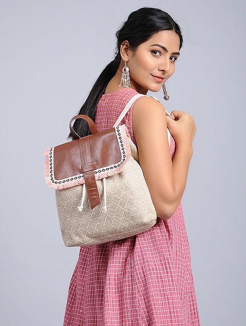 White-Brown Jacquard Backpack