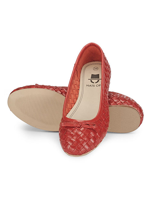 Red Woven Leather Ballerinas
