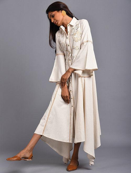 Granada Ivory Embroidered Organic Cotton Dress
