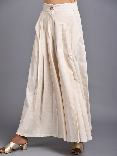 Bikiples Ivory Pleated Organic Cotton Pants