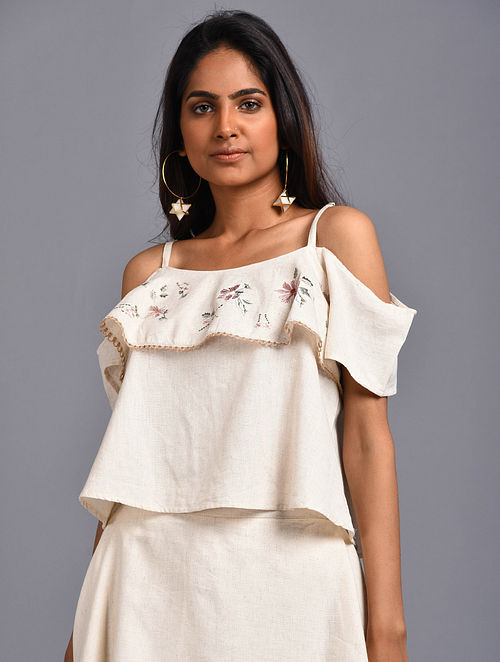Flower Ivory Embroidered Organic Cotton Crop Top
