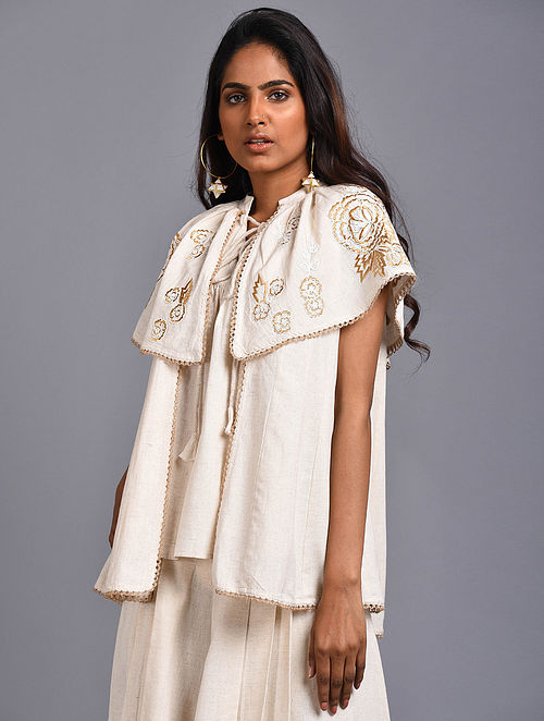 Larisse Ivory Embroidered Organic Cotton Top