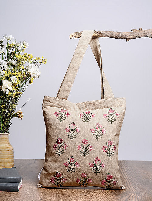 Beige-Multicolored Embroidered Cotton Tote Bag
