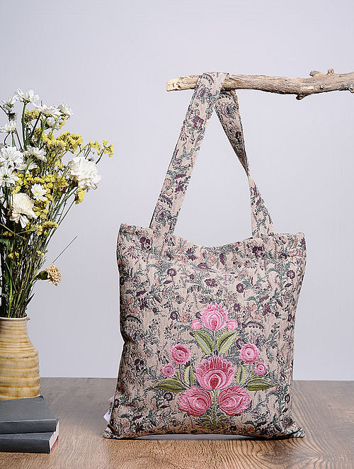 Beige-Multicolored Embroidered and Printed Cotton Tote Bag
