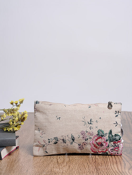 Beige-Multicolored Embroidered and Printed Cotton Pouch