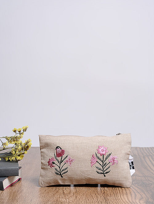 Beige-Multicolored Embroidered Cotton Pouch